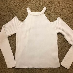 Forever 21 Knitted Cold Shoulder White Sweater